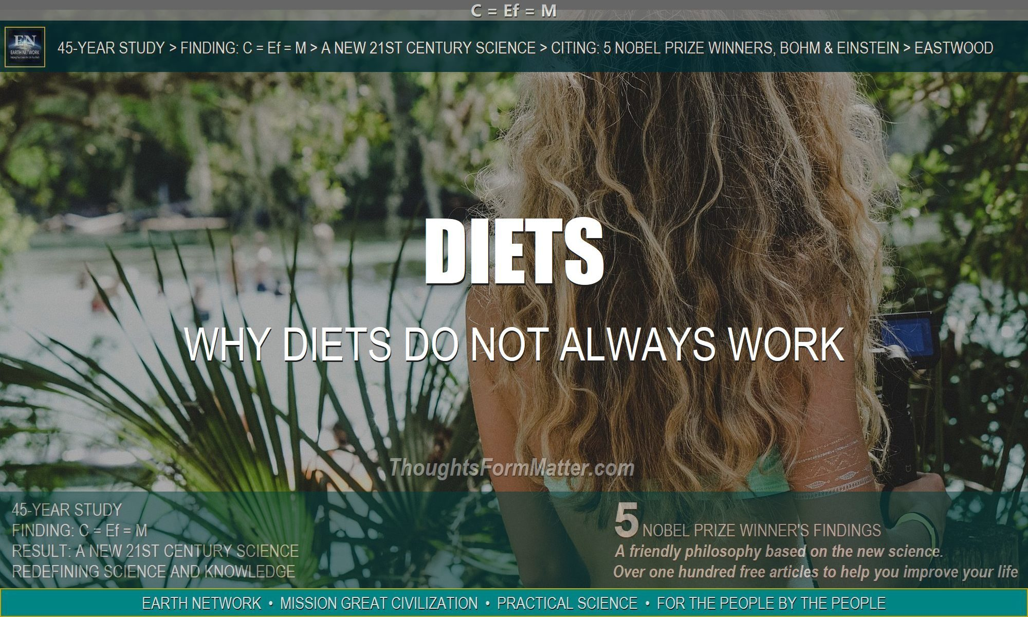 Woman thinks diet doesn't work . Metaphysical and psychological reason for ineffective weight loss program.