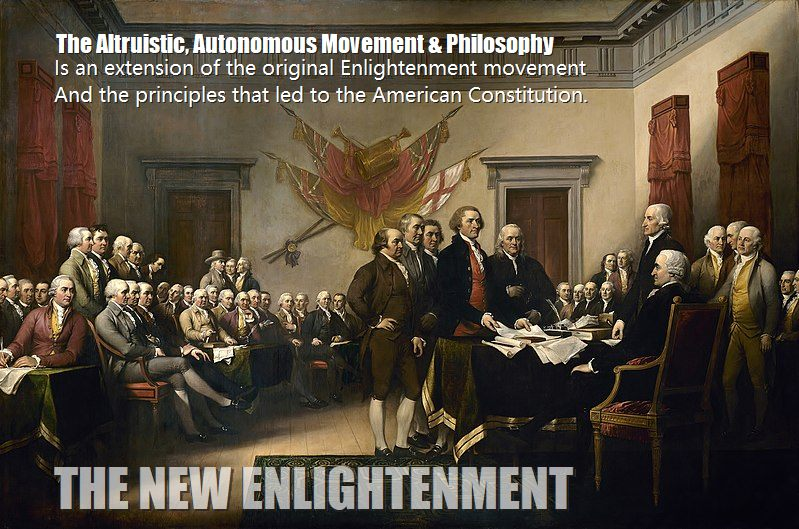 Declaration of independence being signed represents the new enlightenment