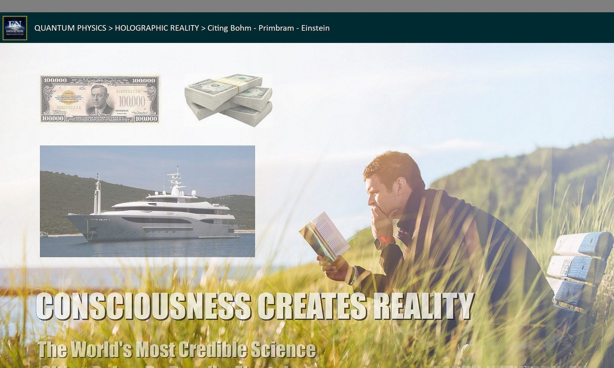 Man with book manifesting yacht and money
