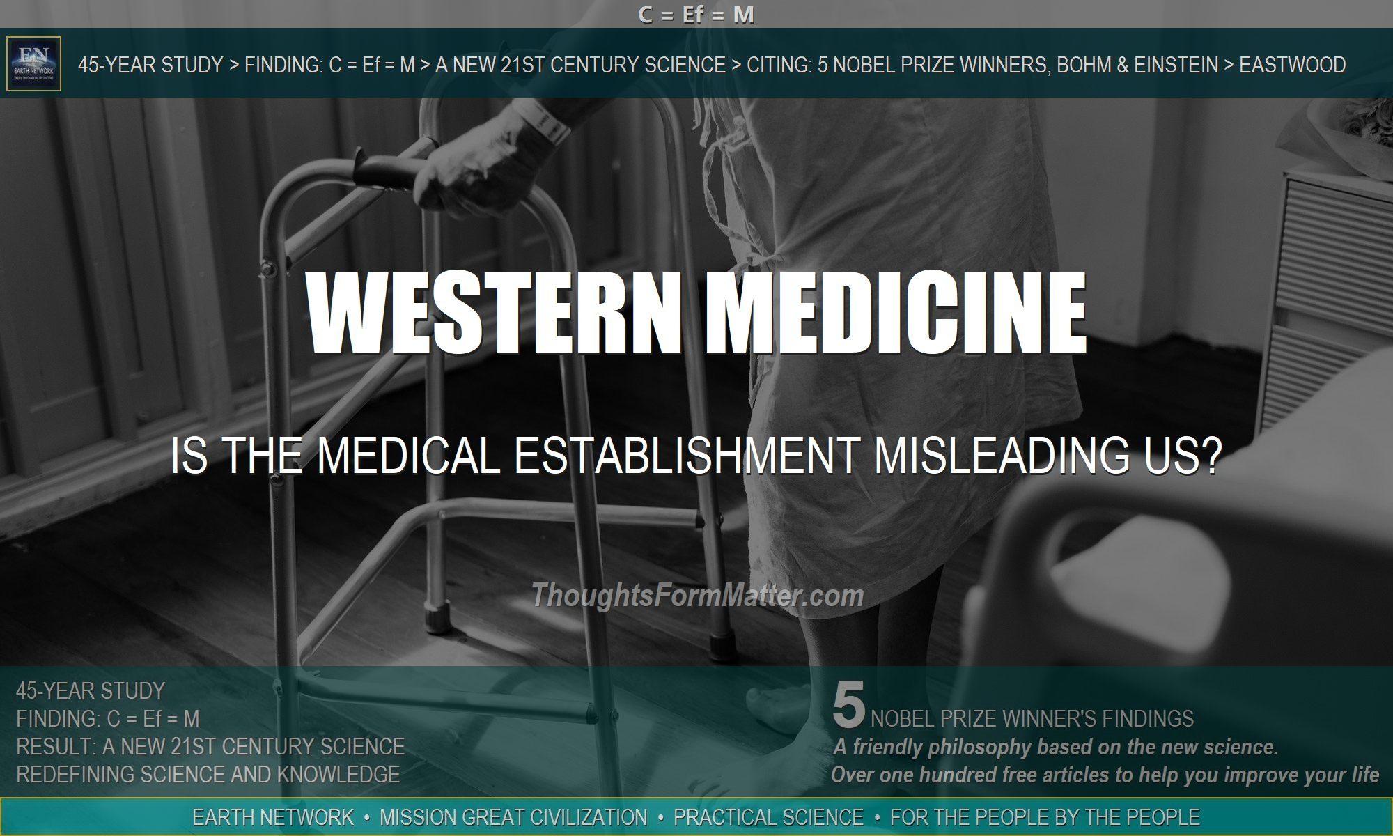 Sick man depicts danger of negative thoughts. Western medicine is based on a false negative premise.