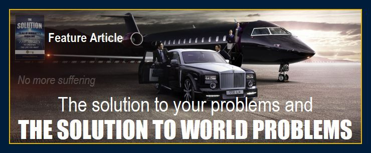 Picture of man, jet and Rolls Royce depicts the solution to your problems and world problems from crime to hunger.