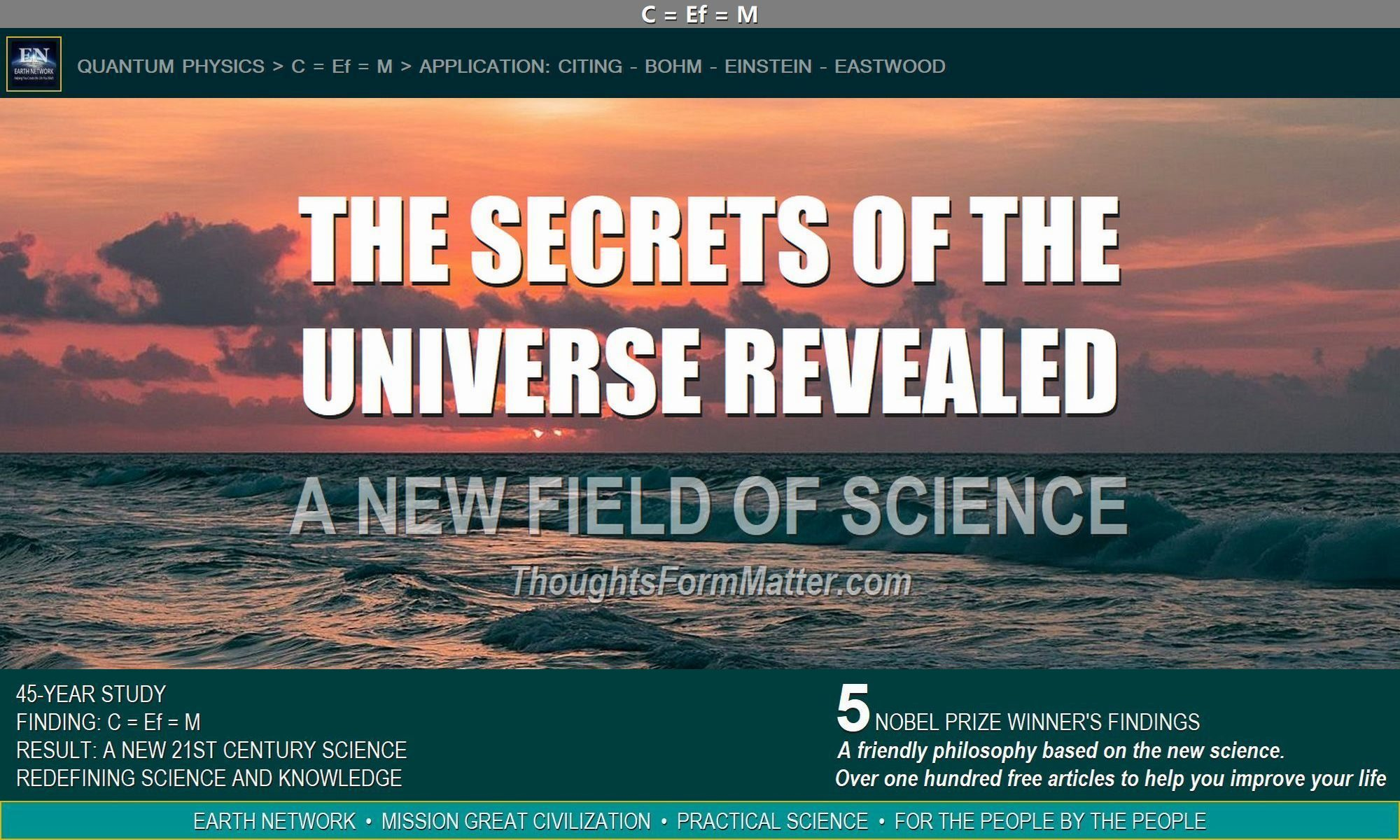 Sunset depicts the secrets of the universe revealed and EN's new science.